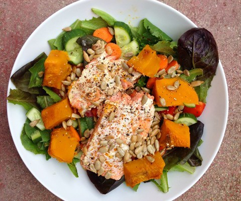 Salad Towers: Salmon, Squash, Seeds & Sesame Toppers