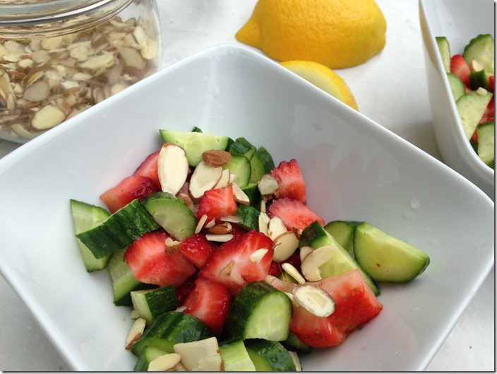 Strawberry Cucumber Lemon Salad with almonds | Dietitian on the Run