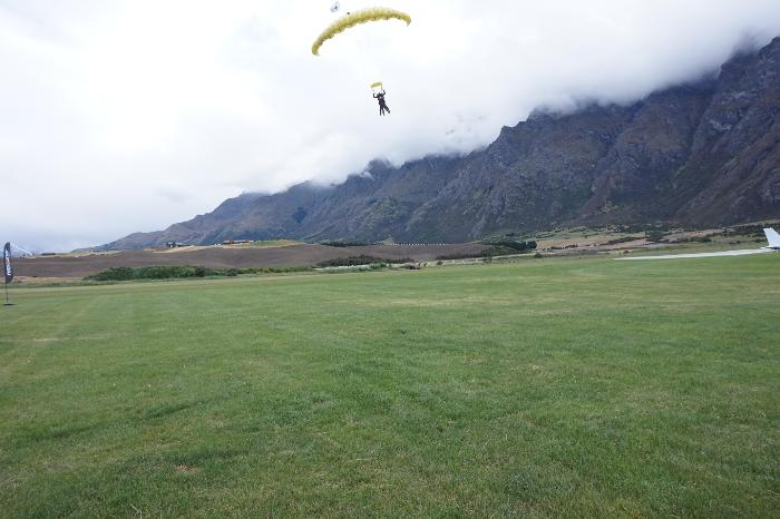 Skydiving landing in Queenstown