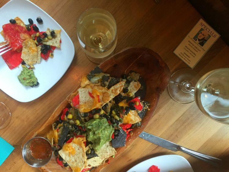 Screwtop nachos and wine