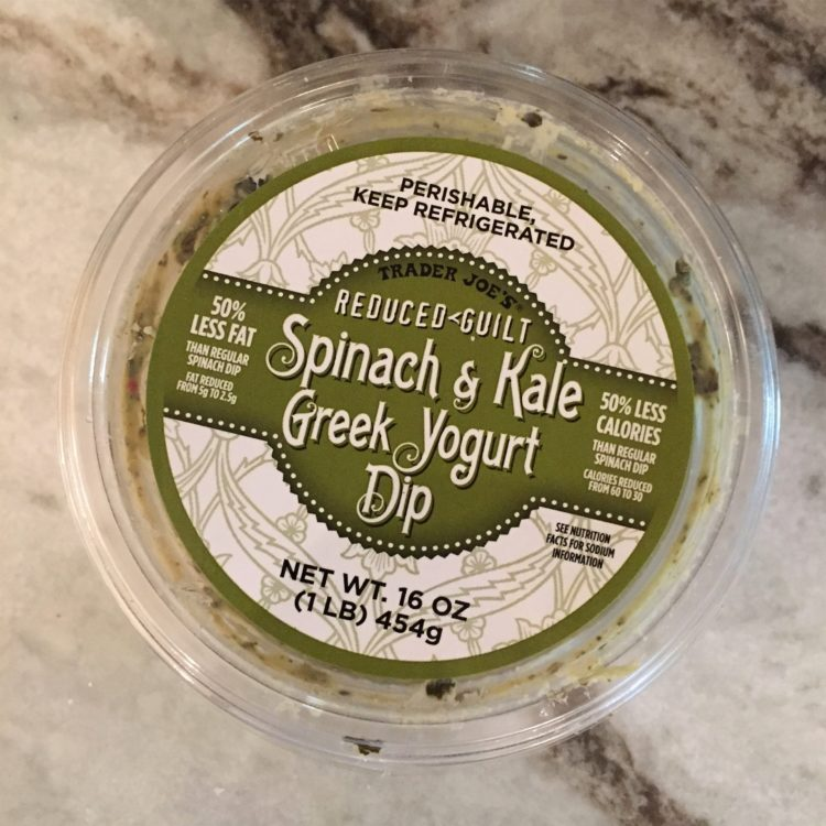 reduced guilt label on spinach dip