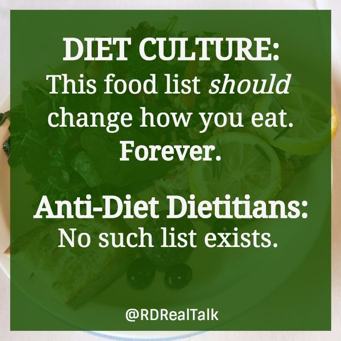 diet culture food lists
