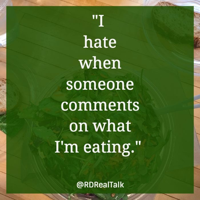 hate food comments RD Real Talk